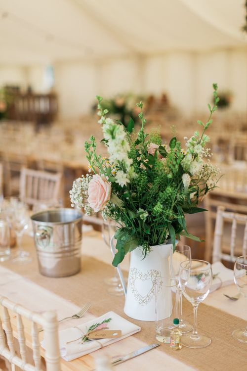 Flowers in Pitcher Jug | Pink & White At Home Marquee Wedding by Pretty Creative Styling | Jo Bradbury Photography