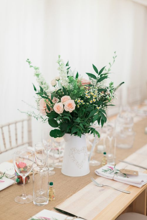Hessian Table Runner & Flowers in Pitcher Jugs | Pink & White At Home Marquee Wedding by Pretty Creative Styling | Jo Bradbury Photography