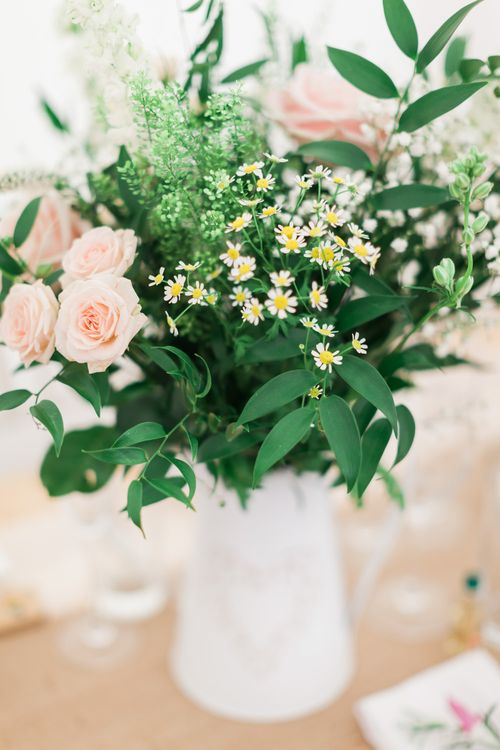 Pink White & Green Flowers in Pitcher Jug | Pink & White At Home Marquee Wedding by Pretty Creative Styling | Jo Bradbury Photography
