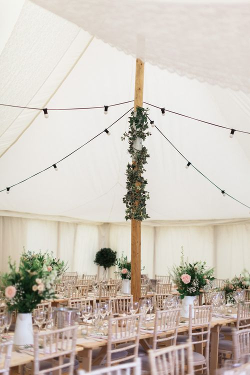 Vine Covered Pole | Pink & White At Home Marquee Wedding by Pretty Creative Styling | Jo Bradbury Photography