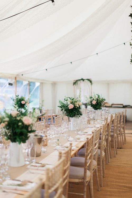 Floral Centrepieces | Pink & White At Home Marquee Wedding by Pretty Creative Styling | Jo Bradbury Photography