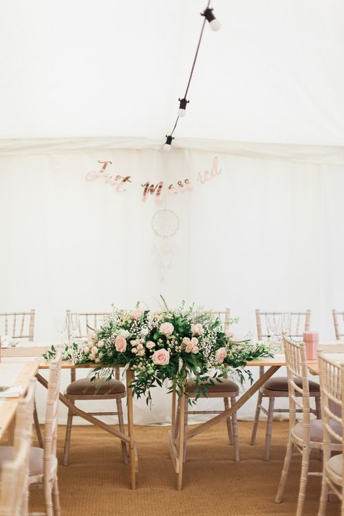 Top Table Wedding Flowers | Pink & White At Home Marquee Wedding by Pretty Creative Styling | Jo Bradbury Photography