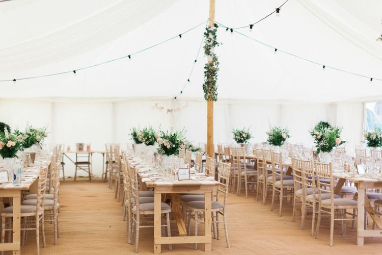 Trestle Tables | Pink & White At Home Marquee Wedding by Pretty Creative Styling | Jo Bradbury Photography
