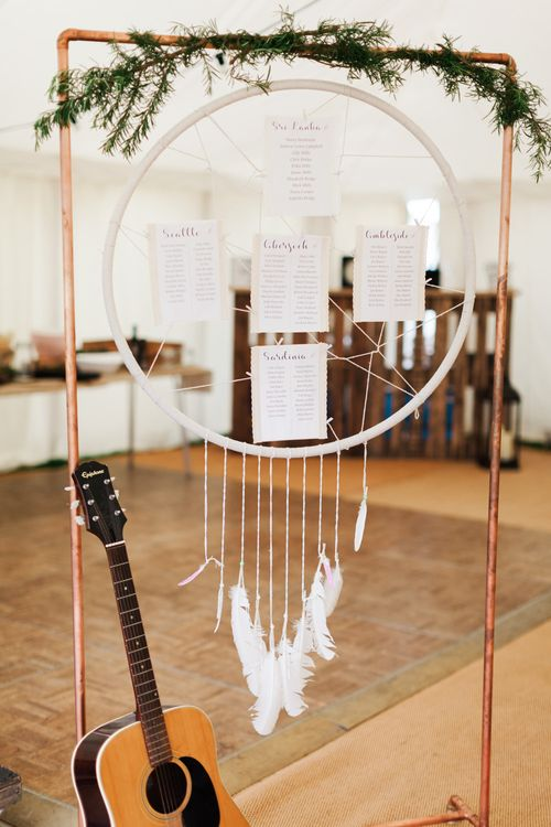Dream Catcher Table Plan | Pink & White At Home Marquee Wedding by Pretty Creative Styling | Jo Bradbury Photography