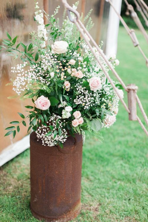Pink, White & Green Milk Churn | Pink & White At Home Marquee Wedding by Pretty Creative Styling | Jo Bradbury Photography