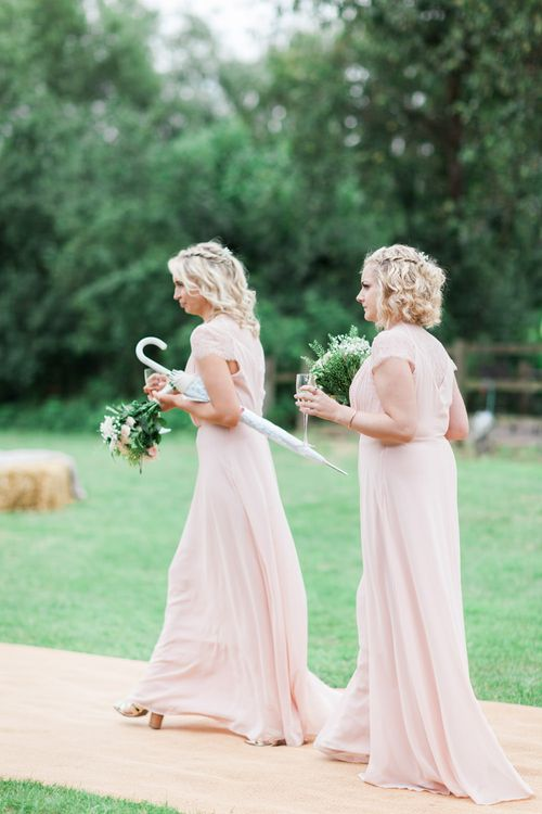Bridesmaids in Pink ASOS Dresses | Pink & White At Home Marquee Wedding by Pretty Creative Styling | Jo Bradbury Photography