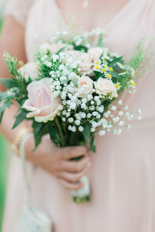 Pink Rose, Gypsophila & Foliage Bridesmaid Posy | Pink & White At Home Marquee Wedding by Pretty Creative Styling | Jo Bradbury Photography