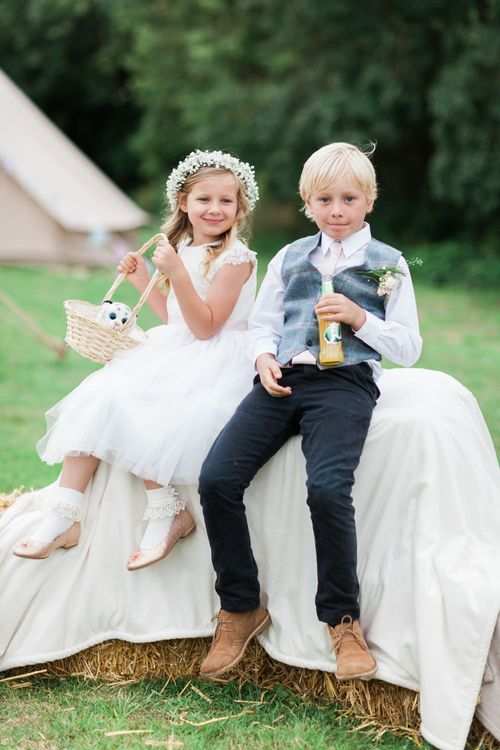 Flower Girl and Page Boy | Pink & White At Home Marquee Wedding by Pretty Creative Styling | Jo Bradbury Photography