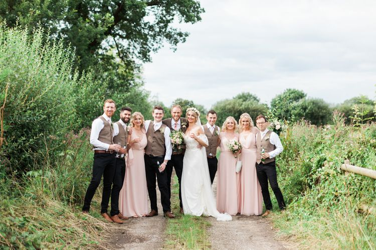 Wedding Party | Bride in Bespoke Felicity Cooper Bridal Gown | Bridesmaids in Pink ASOS Dresses | Groomsmen in Tweed | Pink & White At Home Marquee Wedding by Pretty Creative Styling | Jo Bradbury Photography