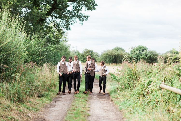 Groomsmen in Tweed Waistcoats | Pink & White At Home Marquee Wedding by Pretty Creative Styling | Jo Bradbury Photography