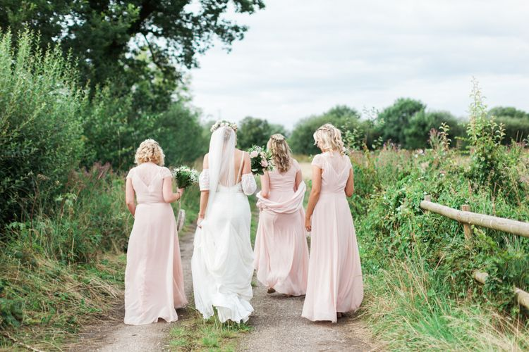 Bridal Party | Pink ASOS Bridesmaid Dresses |Bride in Felicity Cooper Bridal Gown | Pink & White At Home Marquee Wedding by Pretty Creative Styling | Jo Bradbury Photography