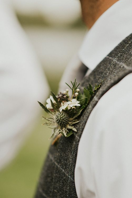 Rustic Buttonhole For Groom // Family Home Wedding In The Cotswolds With Vintage Porsche Tractor Bride In Grace Loves Lace Bridesmaids In White Dresses Images Virginia Photography
