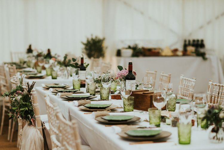 Greenery Filled Wedding // Family Home Wedding In The Cotswolds With Vintage Porsche Tractor Bride In Grace Loves Lace Bridesmaids In White Dresses Images Virginia Photography
