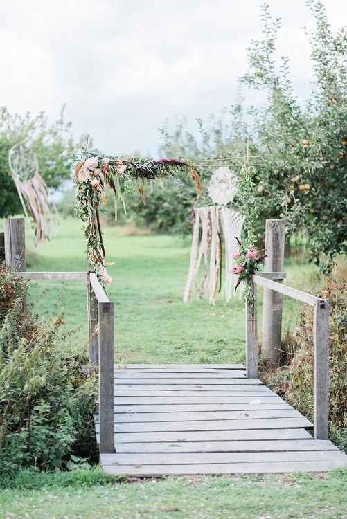 Dream Catcher Wedding Decor // Macrame Ceremony Backdrop Rustic Hippie Wedding The Great Barn Dream Catchers And Oversized Florals Bride In Essence Of Australia Images Kathryn Hopkins