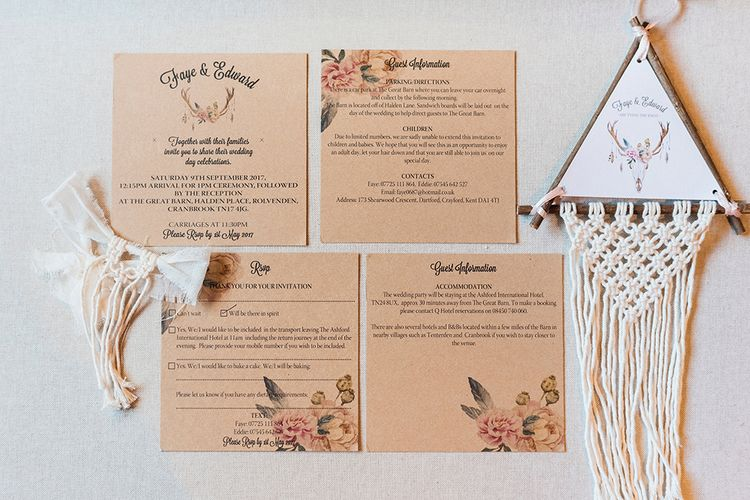 Boho Wedding Stationery // Macrame Ceremony Backdrop Rustic Hippie Wedding The Great Barn Dream Catchers And Oversized Florals Bride In Essence Of Australia Images Kathryn Hopkins