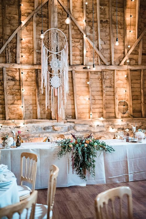 Macrame Ceremony Backdrop Rustic Hippie Wedding The Great Barn Dream Catchers And Oversized Florals Bride In Essence Of Australia Images Kathryn Hopkins