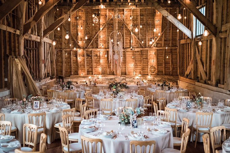 Barn Wedding With Festoon Lights // Macrame Ceremony Backdrop Rustic Hippie Wedding The Great Barn Dream Catchers And Oversized Florals Bride In Essence Of Australia Images Kathryn Hopkins