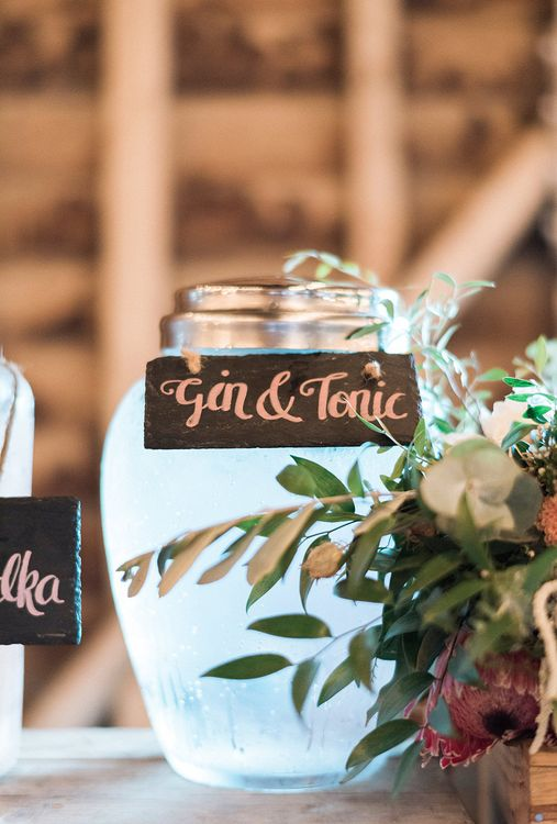 Gin & Tonic // Cocktail Bar At Wedding // Macrame Ceremony Backdrop Rustic Hippie Wedding The Great Barn Dream Catchers And Oversized Florals Bride In Essence Of Australia Images Kathryn Hopkins