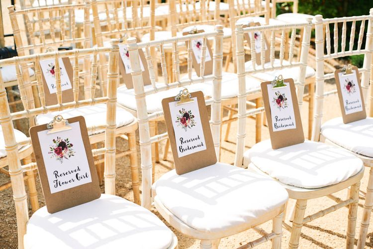 Illustrated Floral Reserved Signs For Wedding Ceremony Seating