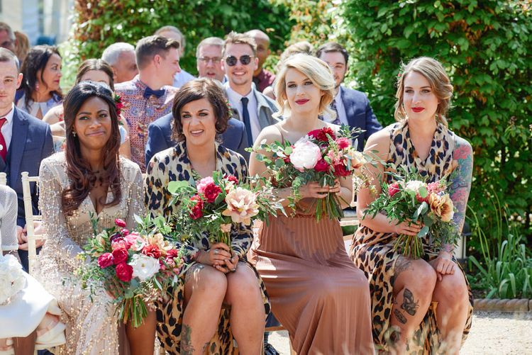 Bridesmaids In Leopard Print Dresses // Kimono Sleeve Wedding Dress By Rue De Seine Bohemian Wedding At The Walled Garden Nottingham Images From Rose Images Wedding Photography