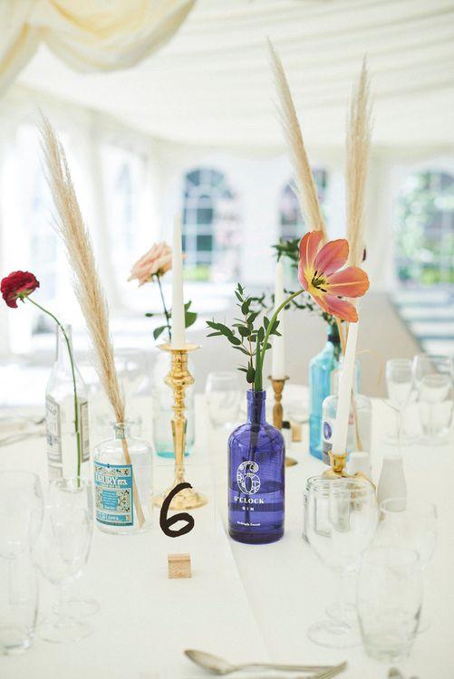Gin Bottle Table Decor For Wedding Reception