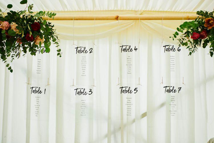 Hanging Table Plan For Wedding