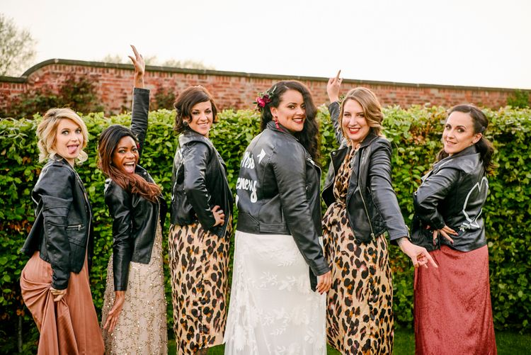 Bride & Bridesmaids In Personalised Leather Jackets