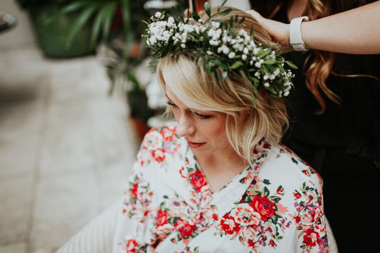 Bride in Floral Getting Ready Robe and Gypsophila Flower Crown