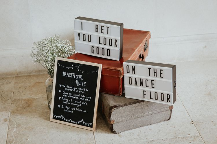 Chalkboard Dance FloorRules and Lightbox I Bet You Look Good on The Dance Floor Signs