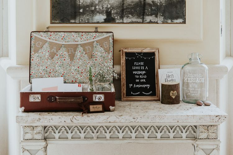 Table Decor with Vintage Suitcase and Burlap Bunting for Wedding Cards, Plus  Message in a Bottle Guest Book