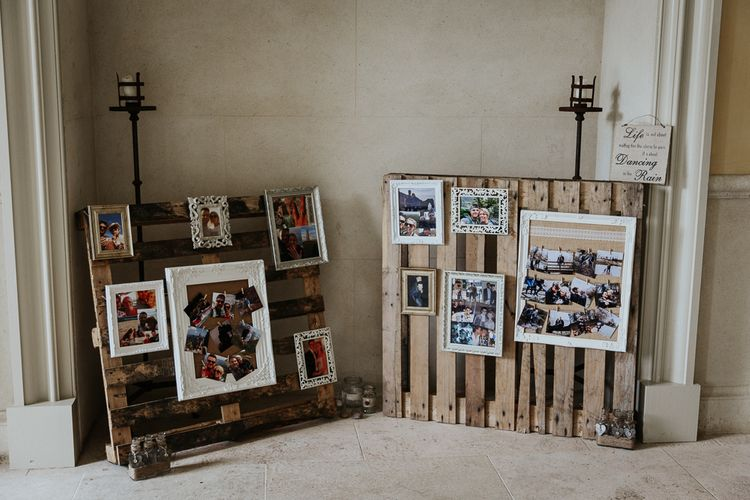 Wooden Pallets with Framed Polaroid Pictures and Memories