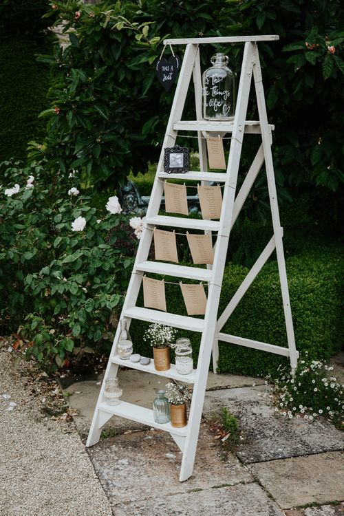 Vintage White Step Ladder Table Plan with Craft Paper Table Names