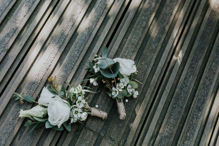 White Flower Buttonholes | Navy & Silver Winter Wedding in London | Joasis Photography