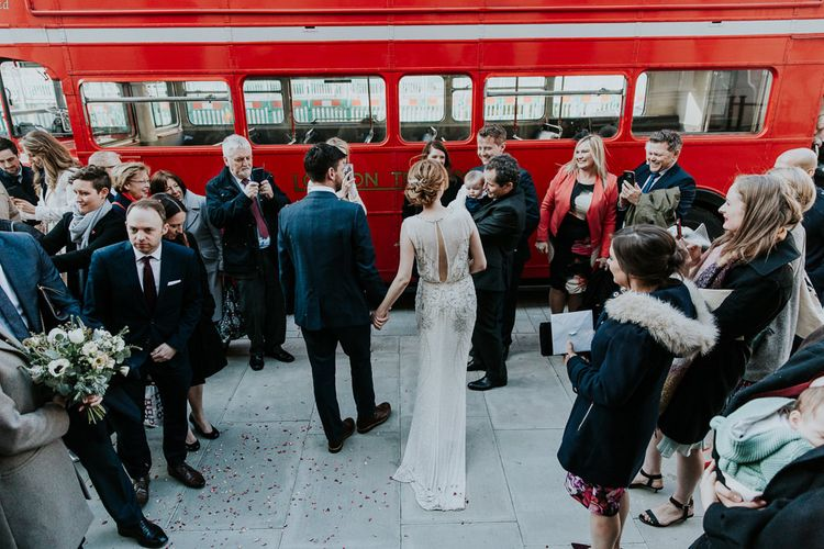 Red London Bus | Bride in Jenny Packham Esme Gown | Groom in Navy Ted Baker Suit | Navy & Silver Winter Wedding in London | Joasis Photography