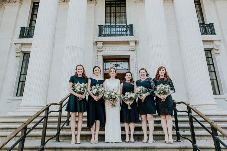 Bridal Party | Bridesmaid in High Street Navy Dresses | Bride in Jenny Packham Esme Gown | Navy & Silver Winter Wedding in London | Joasis Photography