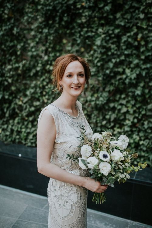 Bride in Sequin Jenny Packham Esme Gown | Navy & Silver Winter Wedding in London | Joasis Photography
