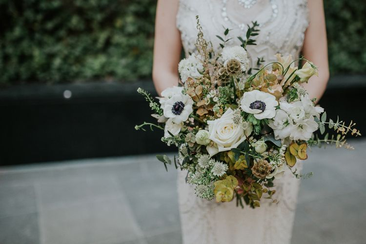 White & Green Bouquet with Anemones | Jenny Packham Esme Bridal Gown | Navy & Silver Winter Wedding in London | Joasis Photography