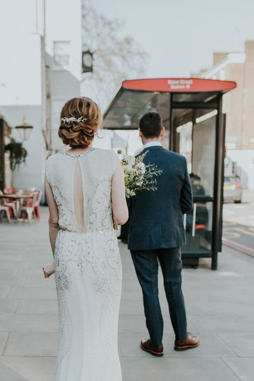 First Look | Bride in Jenny Packham Esme Gown | Groom in Navy Ted Baker Suit | Navy & Silver Winter Wedding in London | Joasis Photography