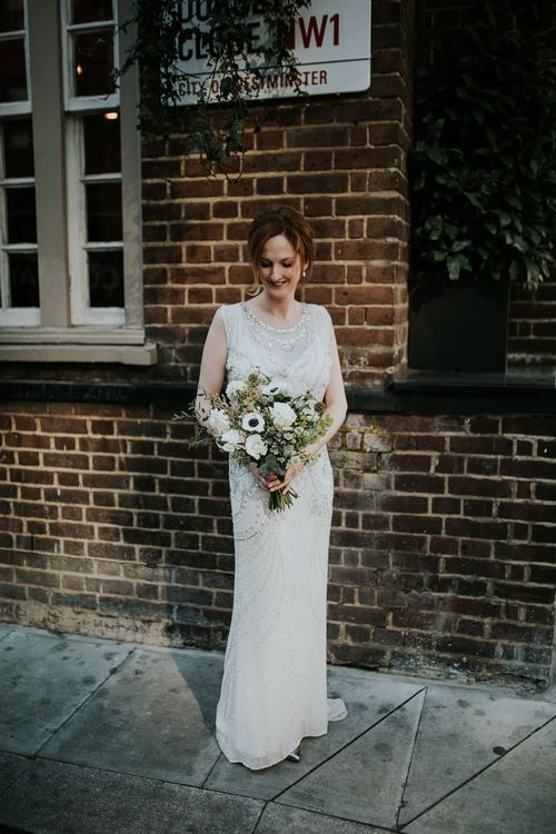 Bride in Jenny Packham Esme Gown | Navy & Silver Winter Wedding in London | Joasis Photography