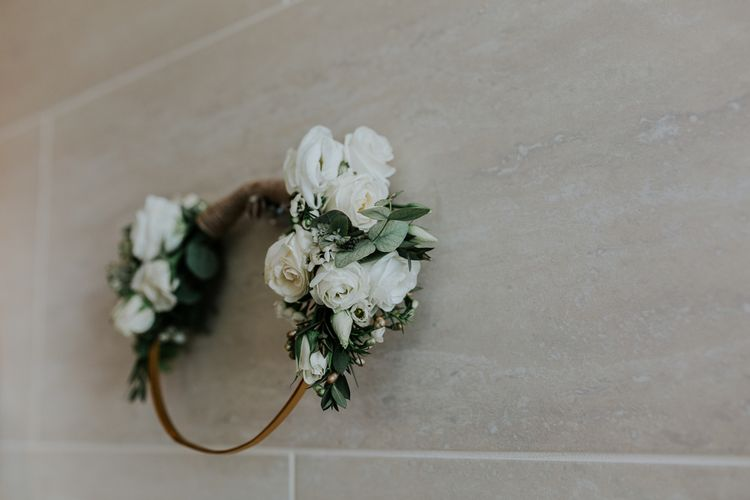 White Flower Crown | Navy & Silver Winter Wedding in London | Joasis Photography