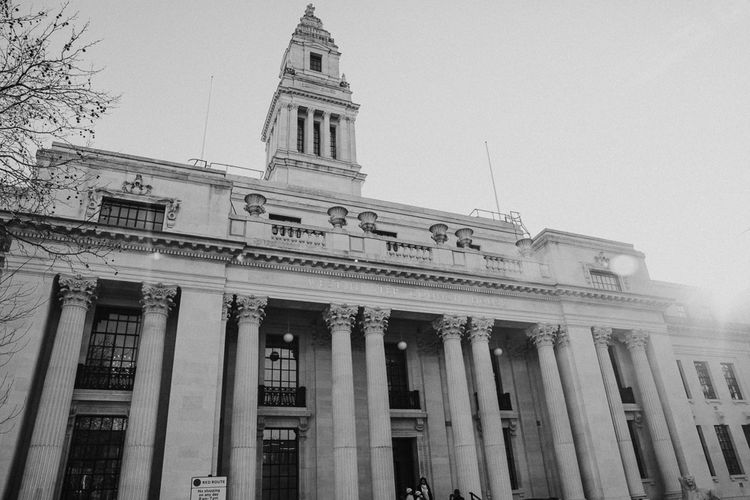 Wedding Ceremony at Old Marylebone Town Hall | Navy & Silver Winter Wedding in London | Joasis Photography