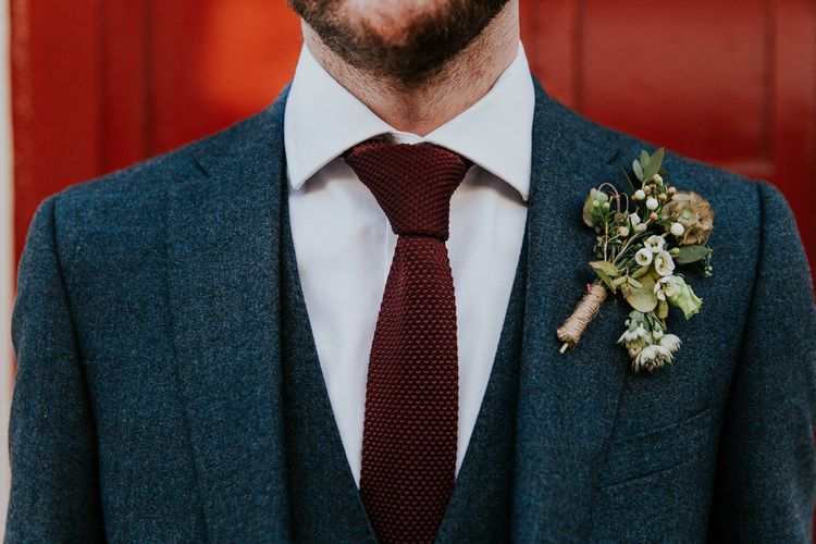 Groom in Navy Ted Baker Suit | Navy & Silver Winter Wedding in London | Joasis Photography
