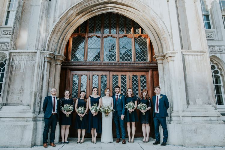 Wedding Party | Bridesmaids in Different High Street Navy Dresses | Bride in Jenny Packham Esme Gown | Groomsmen in Navy Ted Baker Suits | Navy & Silver Winter Wedding in London | Joasis Photography