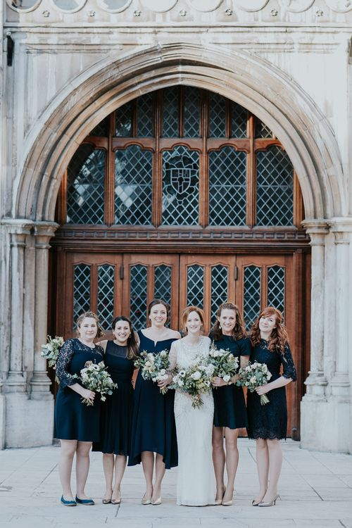 Bridal Party | Bridesmaids in Different Navy High Street Dresses | Bride in Jenny Packham Esme Gown | Navy & Silver Winter Wedding in London | Joasis Photography