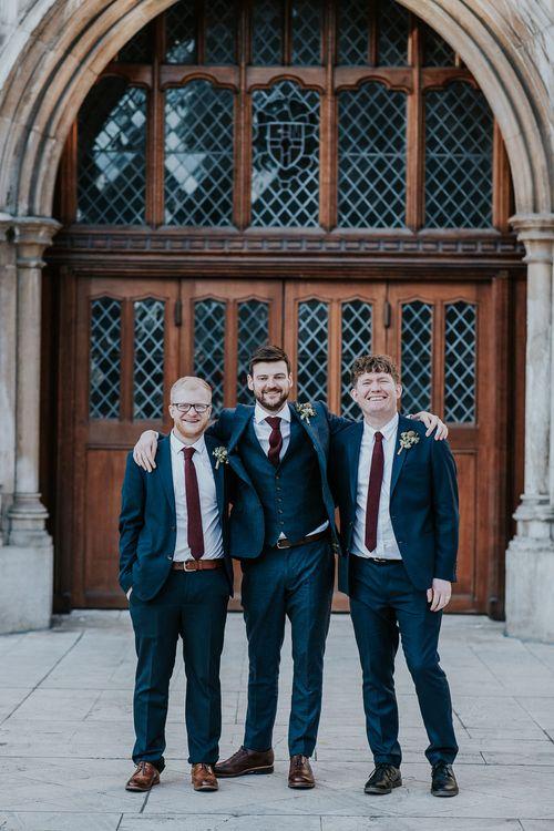 Groomsmen in Ted Baker Navy Suits | Navy & Silver Winter Wedding in London | Joasis Photography