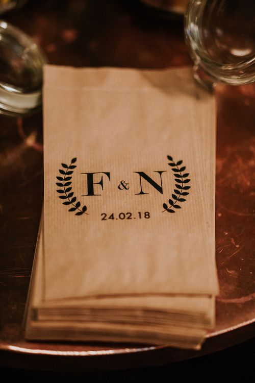 Personalised Monogram Paper Bags | Navy & Silver Winter Wedding Reception at Hawksmoor Guildhall in London | Joasis Photography