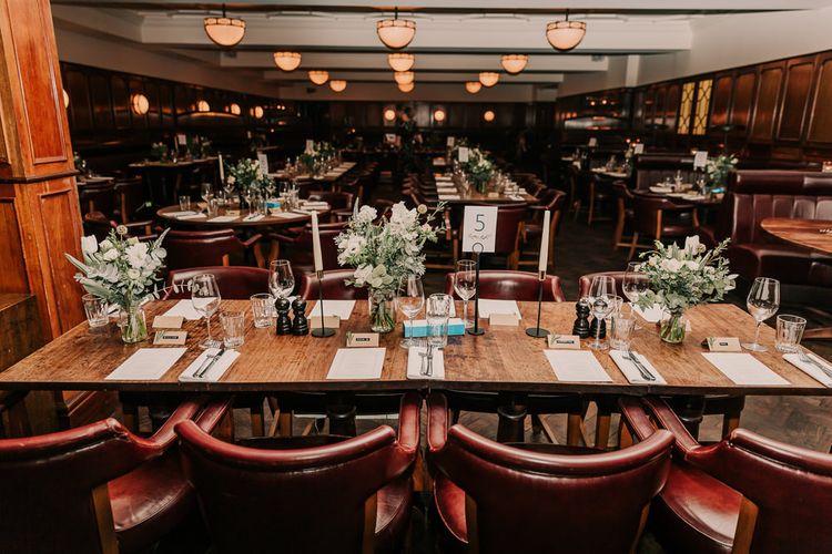 Navy & Silver Winter Wedding Reception at Hawksmoor Guildhall in London | Joasis Photography