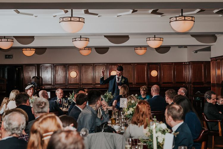 Speeches | Navy & Silver Winter Wedding Reception at Hawksmoor Guildhall in London | Joasis Photography