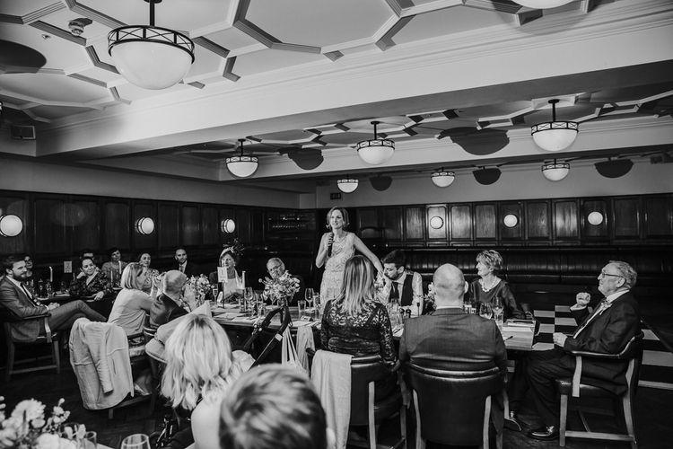 Wedding Speeches | Navy & Silver Winter Wedding Reception at Hawksmoor Guildhall in London | Joasis Photography
