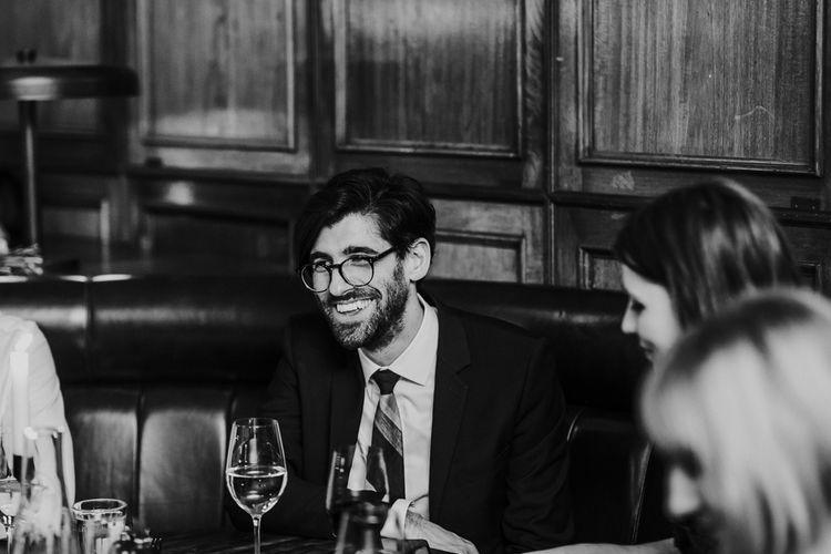 Wedding Guests | Navy & Silver Winter Wedding Reception at Hawksmoor Guildhall in London | Joasis Photography